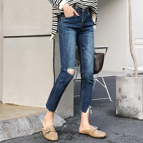 Fashion  Elastic Ripped Skinny Jeans Tight Pencil Pants
