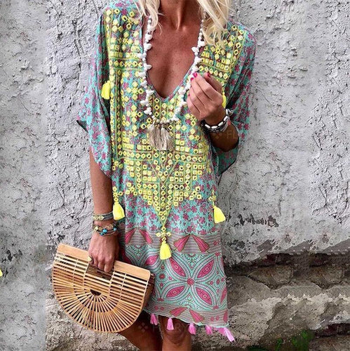 Bohemian Printed Colour V Neck Halflong Sleeve Dresses