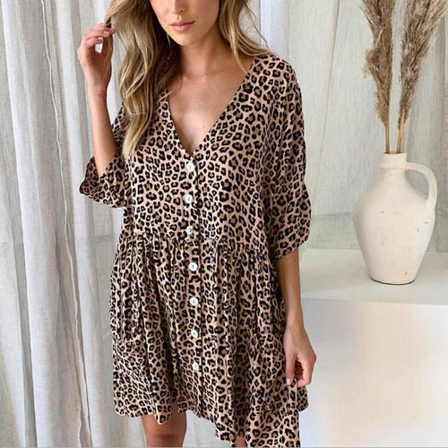 Fashion Print Leopard V-Neck Button Pocket Dress