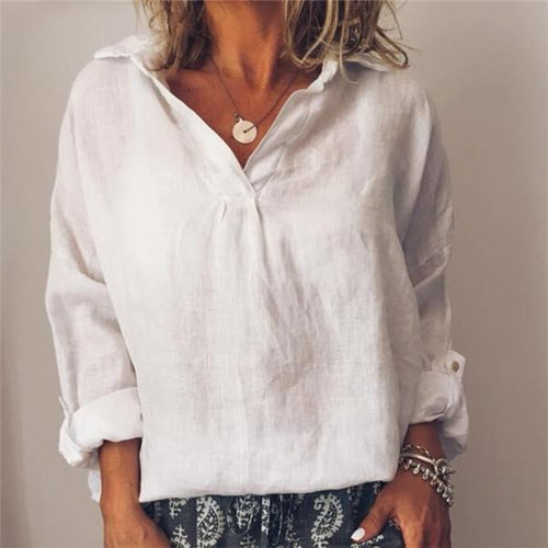 Fashion V Neck Cotton Linen Shirt