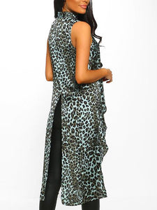 Casual Loose Leopard Print Slit Sleeveless Dress