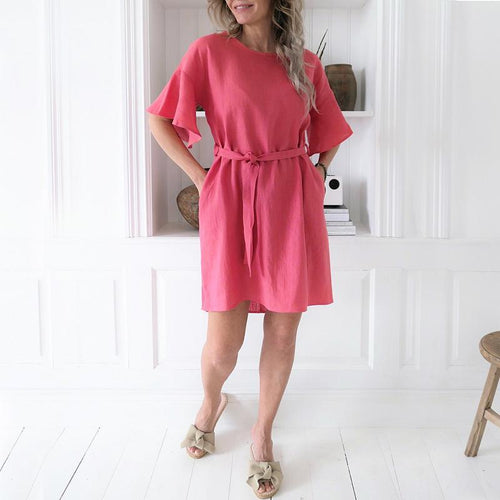 Lace-Up Solid Color Cotton And Linen Dress