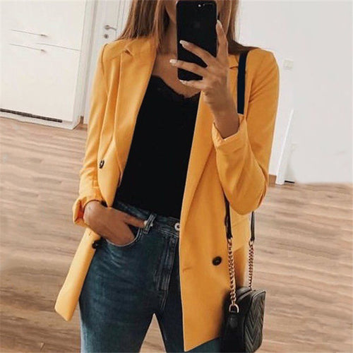 Fashion Pure Color Cardigan Thin Suit Jacket