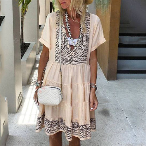 Women's Deep V Printed Stitching Short-Sleeved Loose Dresses