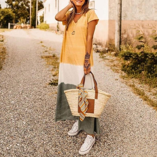 V-Neck Short-Sleeved Casual Casual Color Dress
