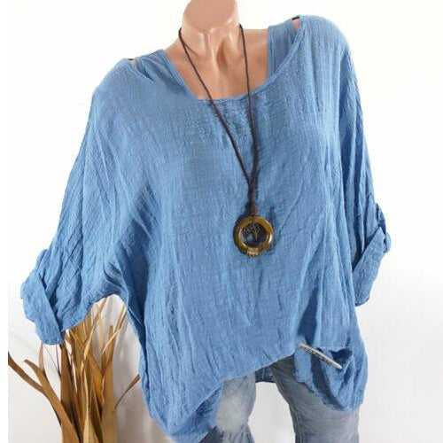 Cotton And Linen Bat Long Sleeve   Loose Top