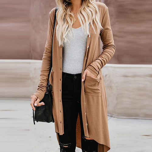 Solid Color Irregular Long Knit Cardigan Coat