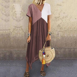 Casual Splicing V Neck Blend Short Sleeve Dress