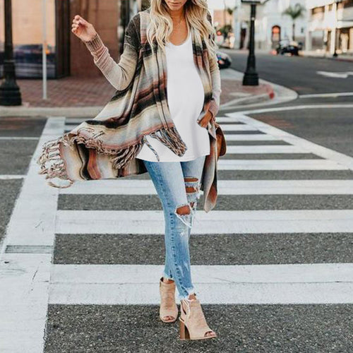 Fashion Striped Long Sleeves Cardigan