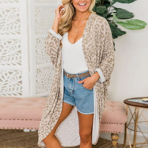 Casual Loose Long-Sleeved Curved Hem In A Long Leopard Cardigan