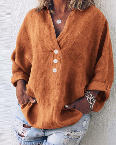 V-Neck Long Sleeve Pullover Ladies Shirt