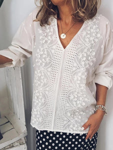 Casual V-Neck Solid Color Openwork Shirt