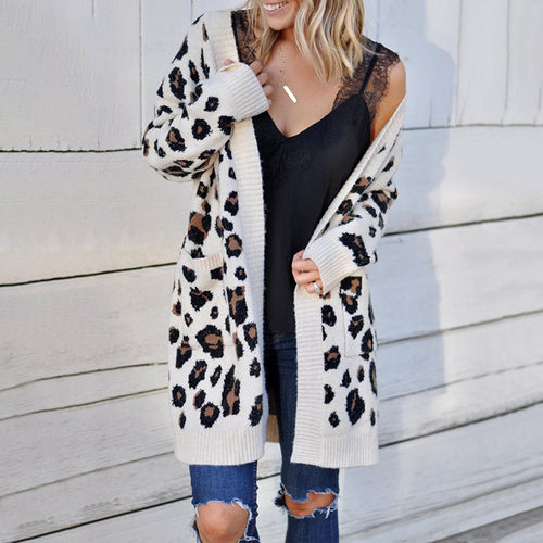 Leopard Printed Long Sleeve Fashion Sweater