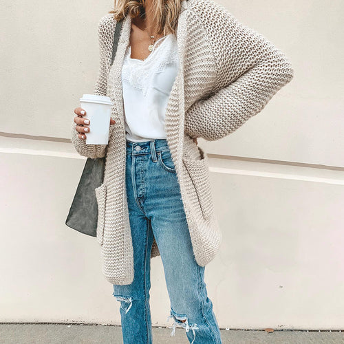 Casual Knit Long Sleeve Pure Colour Cardigan