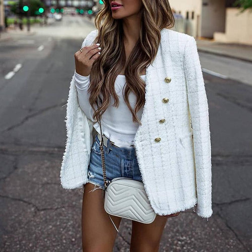 Long Sleeve Plaid V Neck Blazer