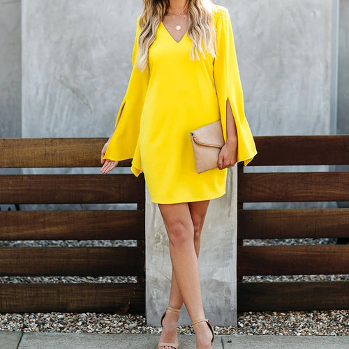 Women's Fashion V-neck Long Sleeve Dress