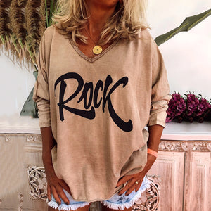 Women's Casual Wild V-Neck Long-Sleeved Printed Shirt