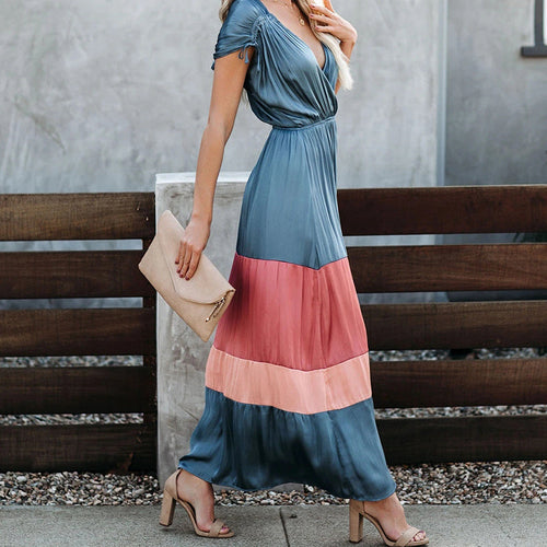 Casual Deep V Neck Patchwork Dress