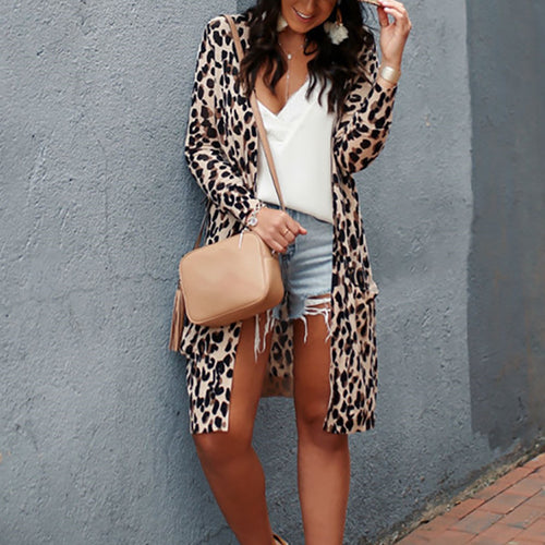 Casual Long Sleeve Leopard Print Cardigan
