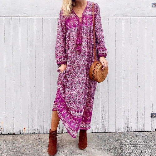 Bohemian print long sleeve tassel loose dress