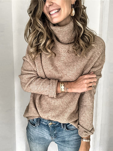 Women's High Collar Casual Solid Color Loose Sweater