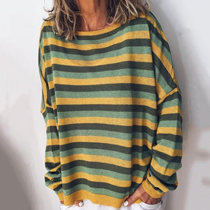Women's Commuting Striped Round Neck Shoulder Sleeve T-Shirt