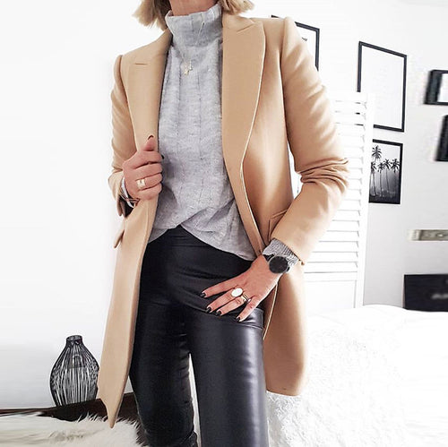 Simple Pure Color Fold Over Collar Blazer