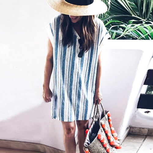 Short Sleeve Round Neck Stitching Striped Print Loose Dress