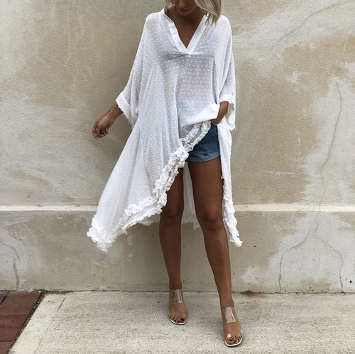 Casual V-neck bat sleeve lace irregular loose blouse