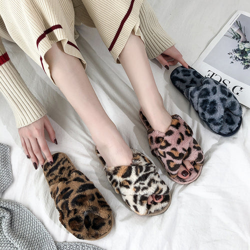 Fashion Casual Women's Leopard   Print Warm Slippers
