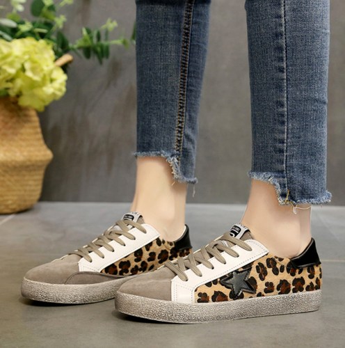 Leopard retro flat with platform casual shoes