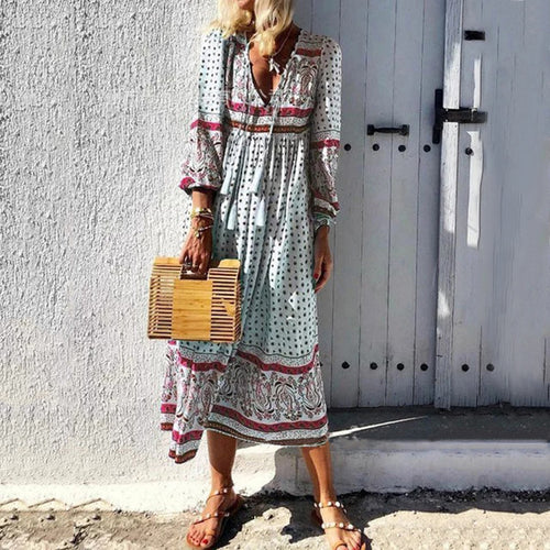 Bohemian Long Sleeve V-Neck Print Dress