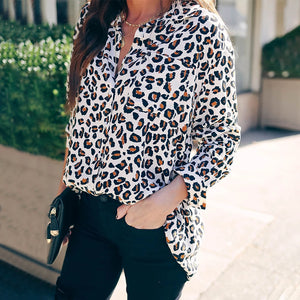 Fashion Single-breasted Leopard Print Long Sleeve Blouse