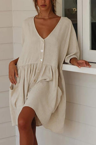 V-Neck Button Ruffled Linen Casual Dresses