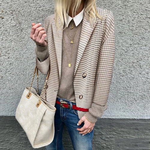 Woman Casual Oversized Plaid Blazer Outwear