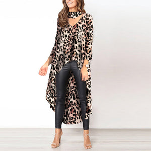 Casual Printed Long-sleeved V-neck Irregular Dress