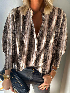 Casual Long Sleeve Animal Printed Shirt