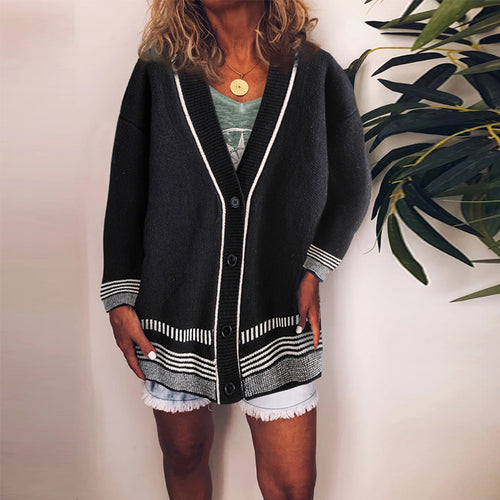 Casual V-neck Contrast Color Single-Breasted Cardigan Sweater