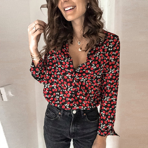 Women's casual printed V-neck long sleeve blouse