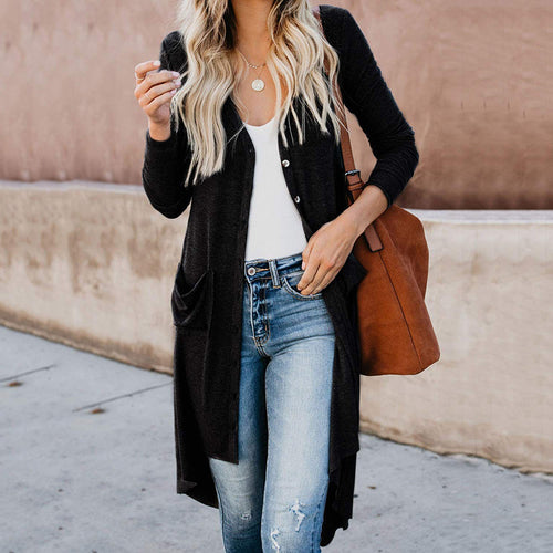 Casual Solid Color Single-breasted Long-sleeved Irregular Cardigan
