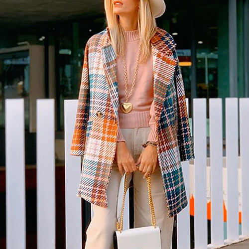 Fashion Fold Over Collar Plaid Coat