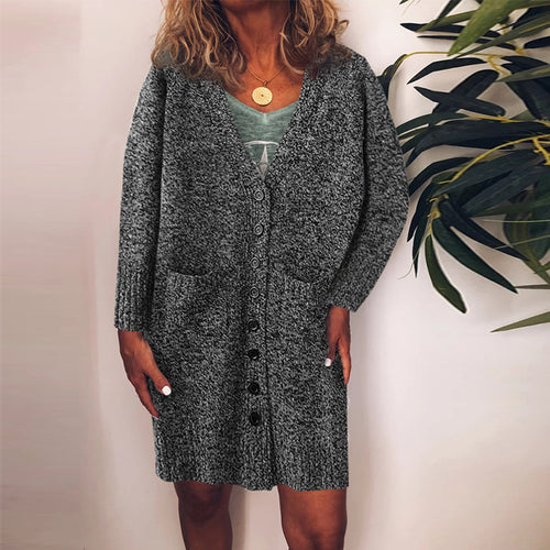 Casual V-neck Long Sleeve Button Versatile Knit Cardigan