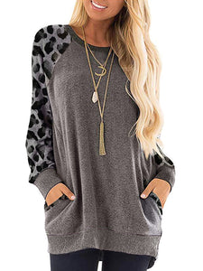 Leopard-Print Round Neck Long-Sleeved Shirt