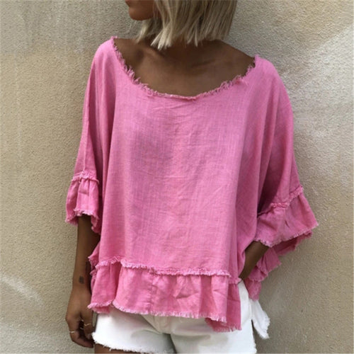 Casual Round Neck Pure Color T-shirt