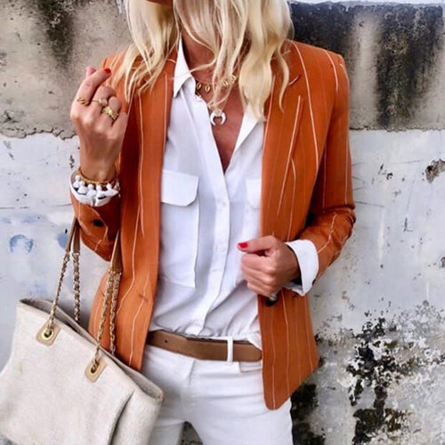 Casual Fold Over Collar Striped Long Sleeve Blazer