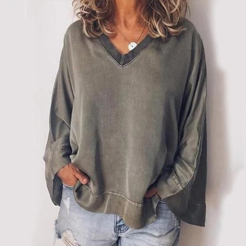 Trend Basic V-Neck Long Sleeve T-Shirt