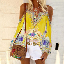 Load image into Gallery viewer, Casual Bohemian off-the-shoulder print T-shirt