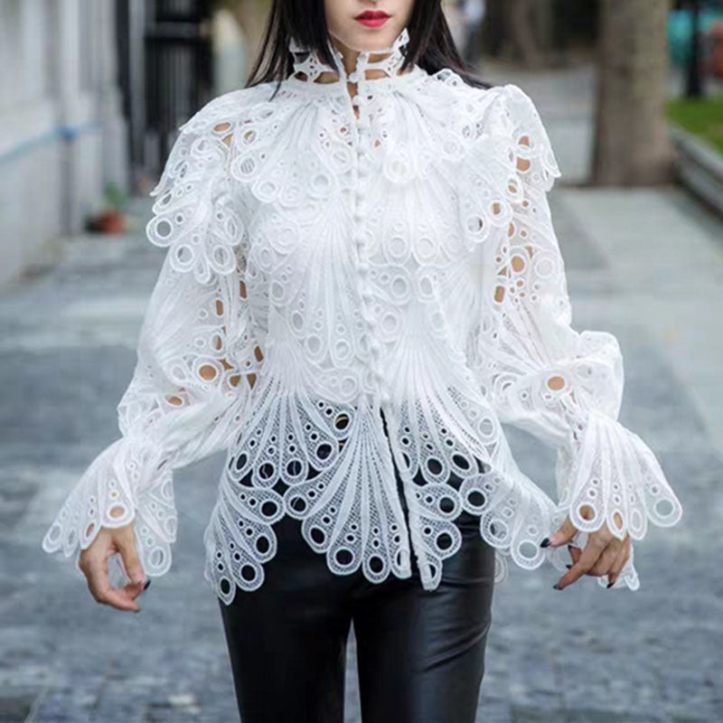 Women's Fashion Openwork Long Sleeve Shirt