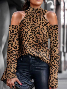 Fashionable sexy leopard print shoulder long sleeve sweater