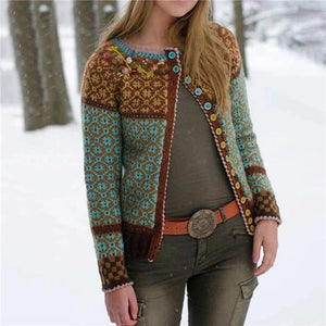 Casual Round Neck Brocade Cardigan